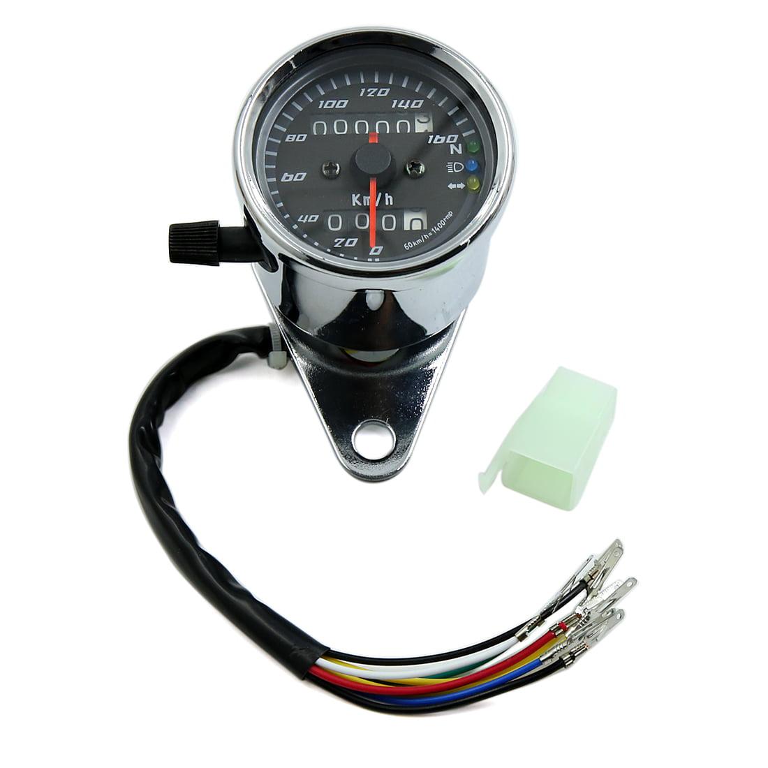 Silver Tone Motorcycle  Backlight LCD Digital Dual Odometer Speedometer Gauge