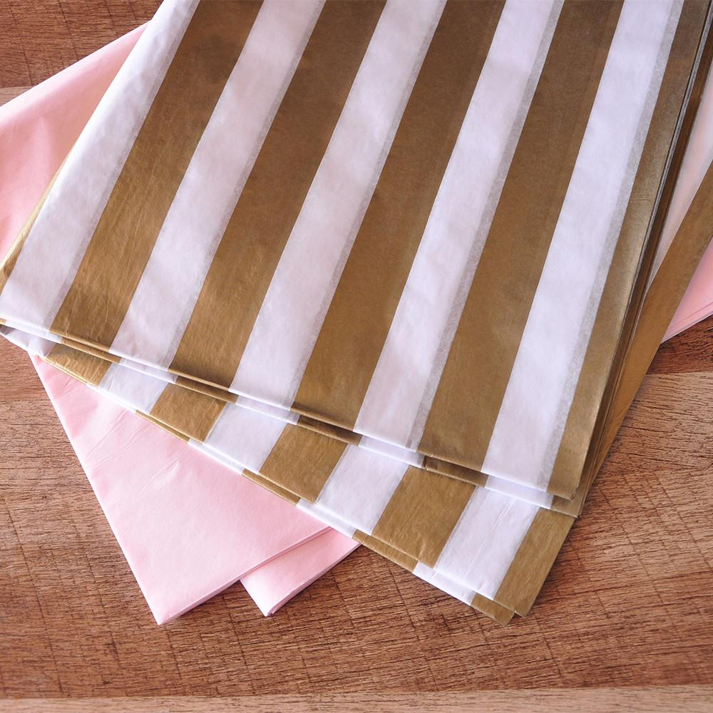 Pink and Gold Party Decor. Ships in 1-3 Business Days. Pink and Gold Stripe Tissue Paper. Gift Wrap.