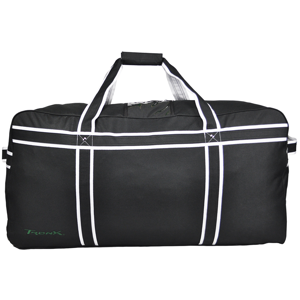 Pro Hockey Bag. Standard; Junior; Goalie; Coach; Heavy-duty zippers; Reinforced shoulder straps; Inside skate pockets; ID window on top; 16 color options available for Standard, Junior, and Goalie bags. Coach bags available in Black/White/Black, Navy/White/Navy, Red/White/Red. Custom options are .