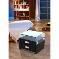 Greatime NL2004 Modern Two Drawers Nightstand with Glass Top, Black