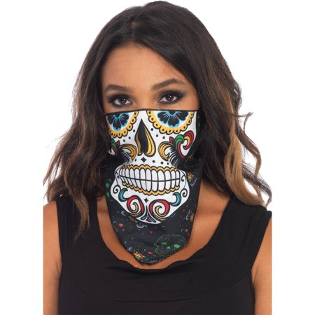 Sugar Skull Bandana Adult Costume Mask