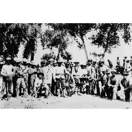 Mexican Revolution C1911 Na Group Of American Volunteers Serving With Rebel Forces In Mexico Photographed With A Cannon And Guns During The Mexican Revolution C1911 Rolled Canvas Art -  (24 x 36)