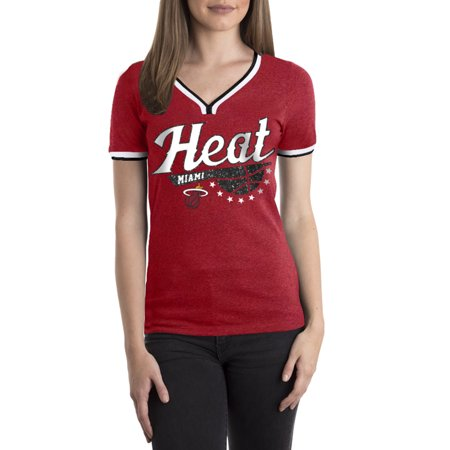 Miami Heat Women's NBA Short Sleeve Biblend V Notch Scoop Neck -