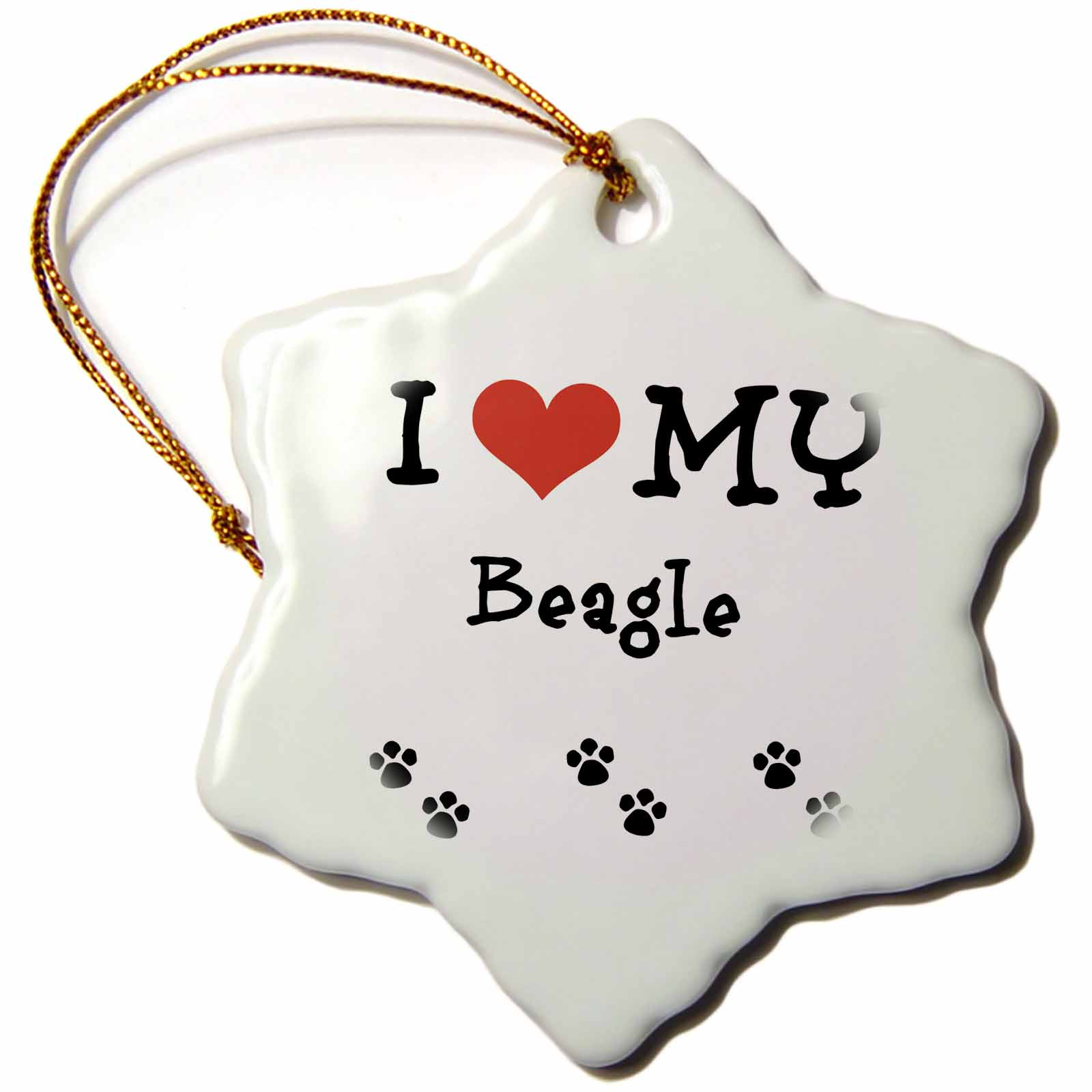 3dRose I Love My - Beagle, Snowflake Ornament, Porcelain, 3-inch