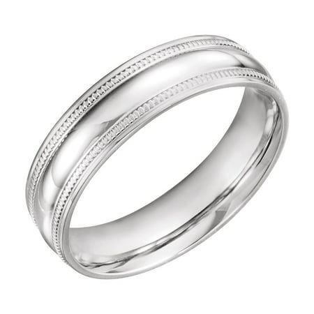 Coin Edge Design (Jewels By Lux 14K White Gold 6mm Coin Edge Design Wedding Ring Band Size 11)