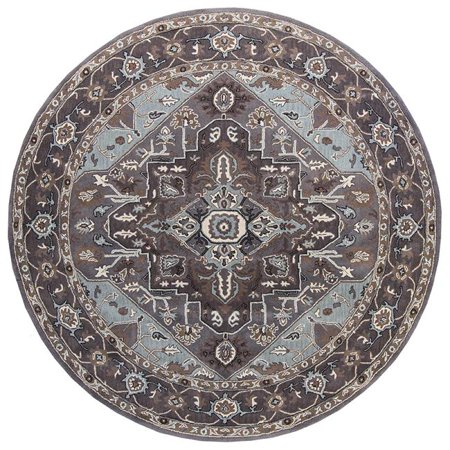 Due Process Stable Trading Tufted Serapi Covered Field Frost Grey & Steeple Grey Round Area Rug, 12 x 12 ft.