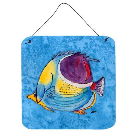 Fish  Tropical on Blue Aluminium Metal Wall or Door Hanging