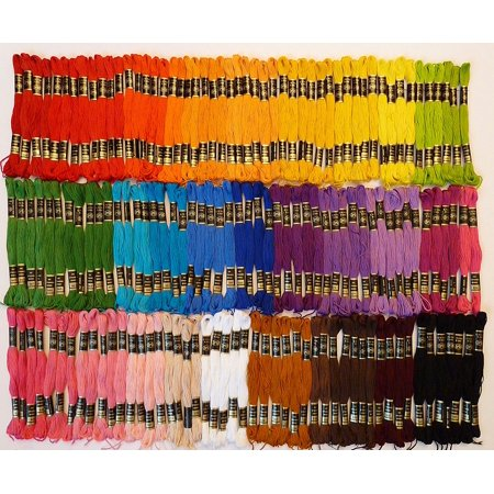 Iris Embroidery Floss - Lot of 150 Skeins - 35 Assorted Colors, 8.75 Yards Each!, 35 assorted colors both primary and pastel By Hilos Iris From USA