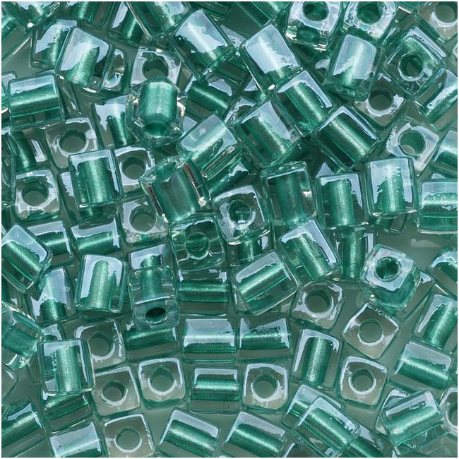 Miyuki 4mm Glass Cube Beads Metallic Teal Lined Crystal #2605 10 Grams
