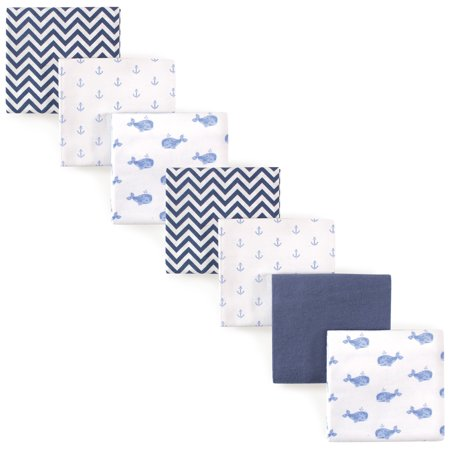 Hudson Baby Receiving Blankets Flannel 7-Pack - Blue Whale