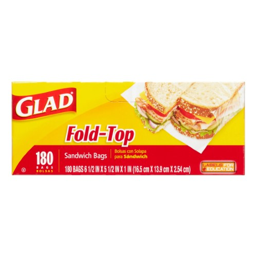 Glad Fold-Top Sandwich Bags, 180 Ct