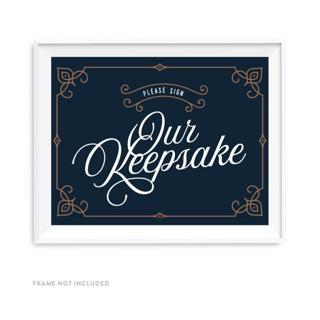 Navy Blue Art Deco Vintage Party Signs, Please Sign our Keepsake Table Sign, 8.5x11-inch (Art Deco Table)