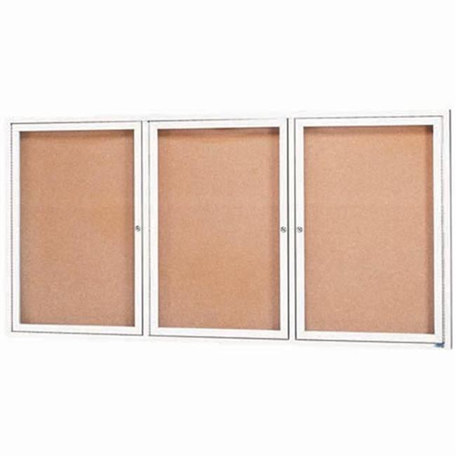 Aarco Products DCC3672-3RIW 3-Door Illuminated Enclosed Bulletin Board - White