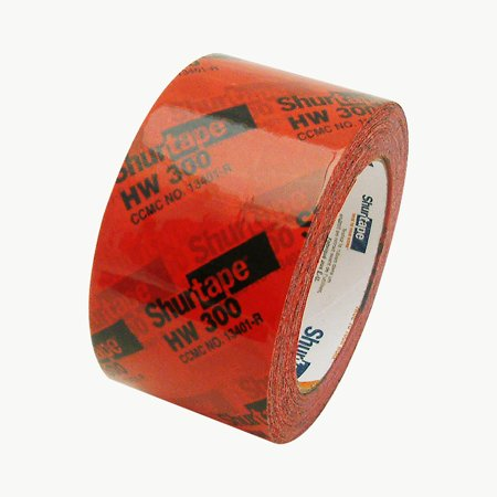 Shurtape HW-300 Housewrap Sheathing Tape: 2-1/2 in  x 60 yds  (Red with  Black Printing)
