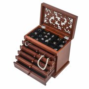 Large Jewelry Organizer Wooden Storage Box 6 Layers Case with 5 Drawers, Brown