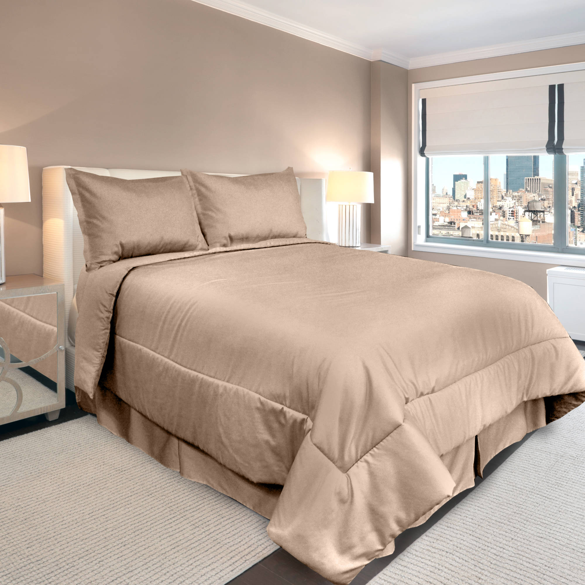Veratex Supreme Sateen 300-Thread-Count Solid Bedding Comforter Set