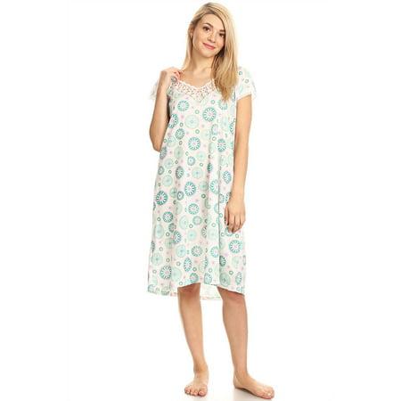 803 Womens Nightgown Sleepwear Cotton Pajamas - Woman Sleeveless Sleep Dress Nightshirt Green XL