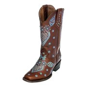 Ferrini Western Boots Womens Jubilee Square Toe Floral Brown 84671-10