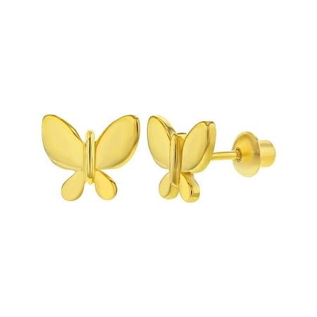 Small Butterfly Earrings - 925 Sterling Silver Butterfly Small Screw Back Earrings for Girls or Teens