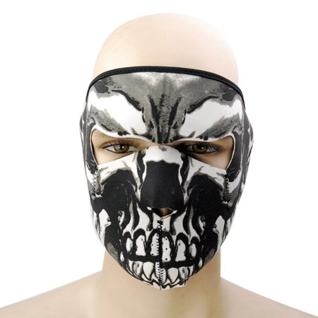 Graphic Style Skull Assassin Black Neoprene Adjustable 2 in 1 Reversible Full Face Mask Motorcycle Snowboard Ski