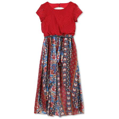 Lots of Love by Speechless 7-16 Lace and Print Walk-Thru Romper Dress (Big Girls)