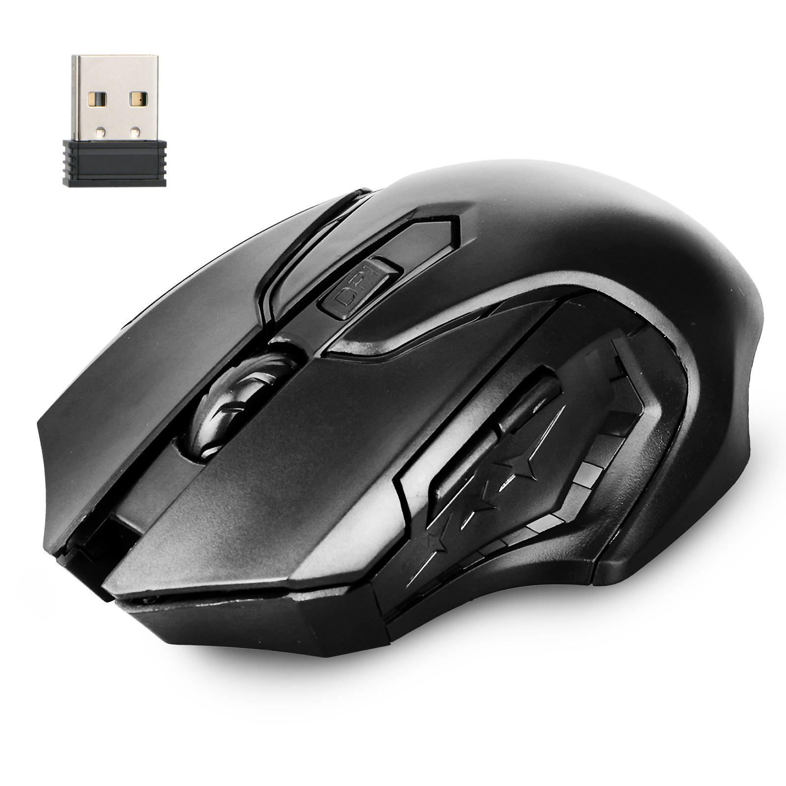 Wireless Gaming Mouse, TSV 2.4Ghz Laptop Wireless Ergonomic Optical Mouse with USB Receiver, 6 Buttons, 800/1200/1600 DPI, Compatible with Windows, Mac OS