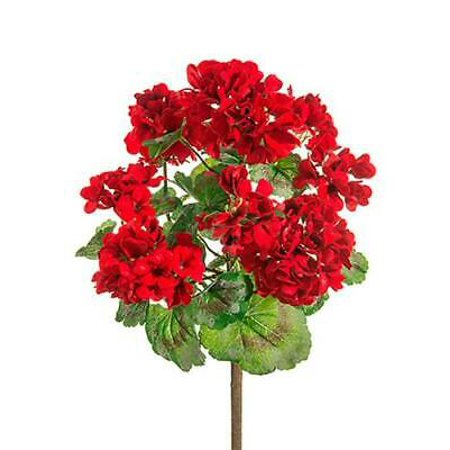 Image of 1PK Outdoor Artificial Geranium Bush in Red, Home-Silk Flowers