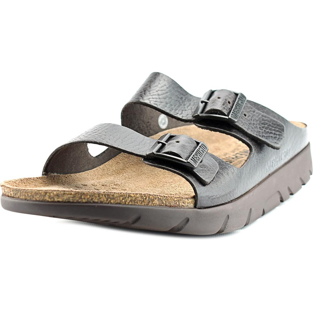 Allrounder By Mephisto Zonder Men  Open Toe Leather Brown Slides Sandal