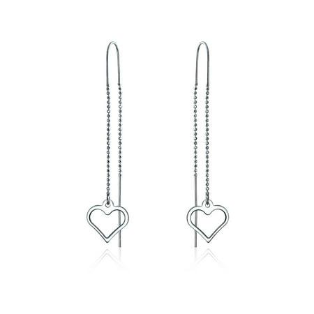Minimalist Open Heart Thin Beaded Chain Threader Earring For Women For Teen 925 Sterling Silver