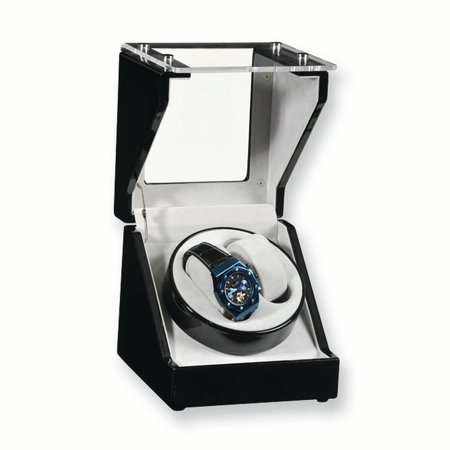 Two Slot Watch Winder - Black Gloss Finish 1-Turntable Winder for 2 Watches GM3783