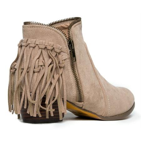 8782dd3424b J. Adams Low Heel Fringe Ankle Boot- Zipper Closed Toe Western Cowboy  Bootie - Bailey