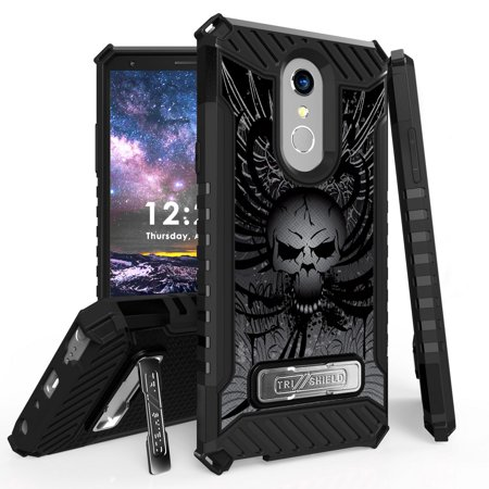 Skull Cigarette Case - Beyond Cell Rugged Military Grade Drop Tested [MIL-STD 810G-516.6] Kickstand Cover Case and Atom Cloth for LG Stylo 4+ Plus/LG Stylo 4 (2018) - Skull Wings
