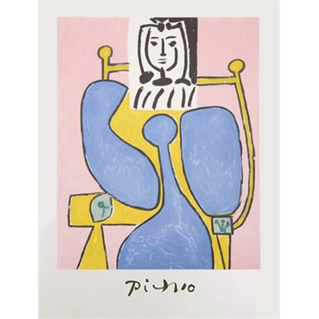 Pablo Picasso 22585 Femme Assise a la Robe Bleue, Lithograph on Paper 29 In. x 22 In. - Pink, Blue, Yellow, Black