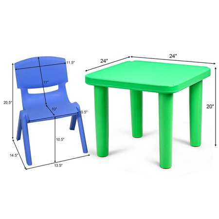 Kids Plastic Table and 4 Chairs Set Colorful Playroom School Home Furniture New - image 1 de 10