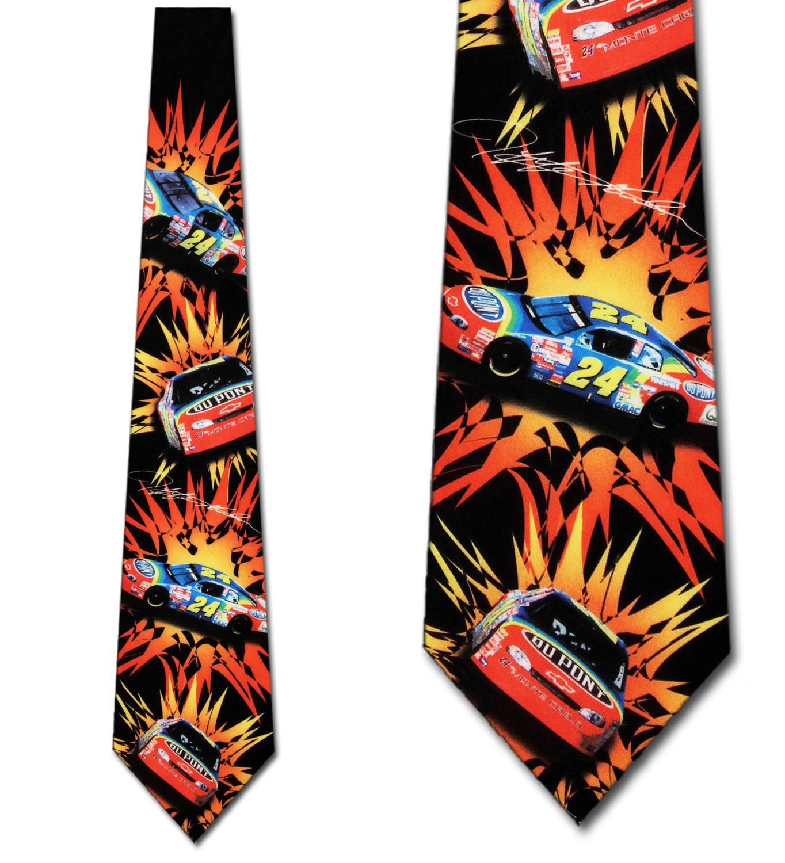 Jeff Gordon Car with Burst Repeat Necktie Mens Tie