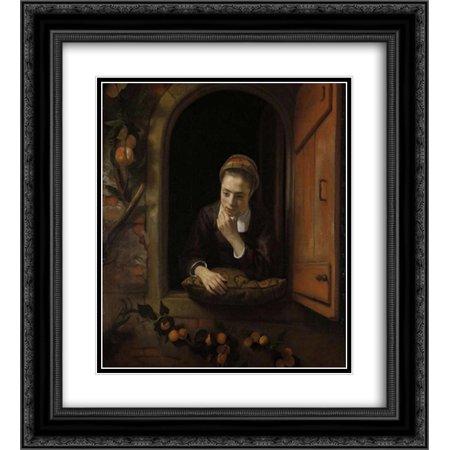 Nicolaes Maes 2x Matted 20x22 Black Ornate Framed Art Print \'Girl at ...