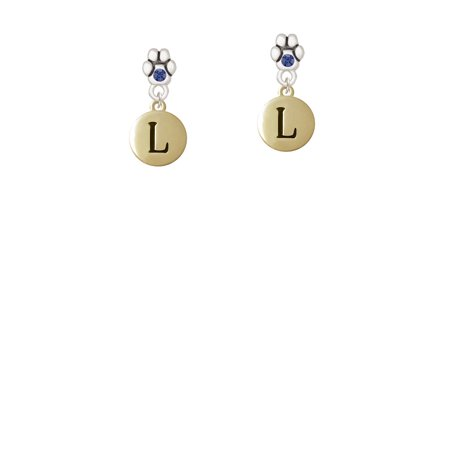 Capital Gold Tone Letter   L   Pebble Disc   Blue Crystal Paw Earrings
