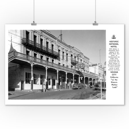 Nevada City, California - Exterior View of the National Hotel (9x12 Art Print, Wall Decor Travel Poster) (Halloween Party Nevada City)