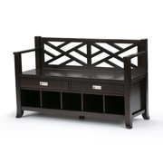 Brooklyn + Max Dover Solid Wood 47 inch Wide Contemporary Entryway Storage Bench with Drawers and Cubbies in Espresso Brown