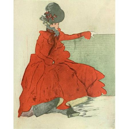 Posterazzi The Studio 1896 Nouveau Woman in Red Canvas Art - Unknown (24 x 36)