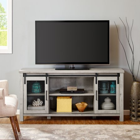 Granston Mesh Sliding Door Grey Wash TV Console By River Street