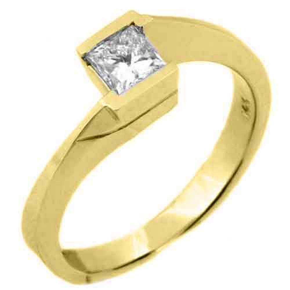 14k Yellow Gold .50 Carats Solitaire Princess Cut Diamond Tension Ring by TheJewelryMaster