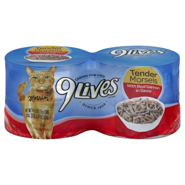 Image of 9 LIVES TENDER MORLES SALMON 6-4PK 5.5OZ WET CAT