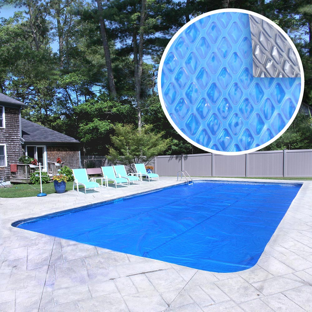Premium 10-Year Rectangular Blue/Silver Solar Cover Pool Blanket, 4 x 8 ft.