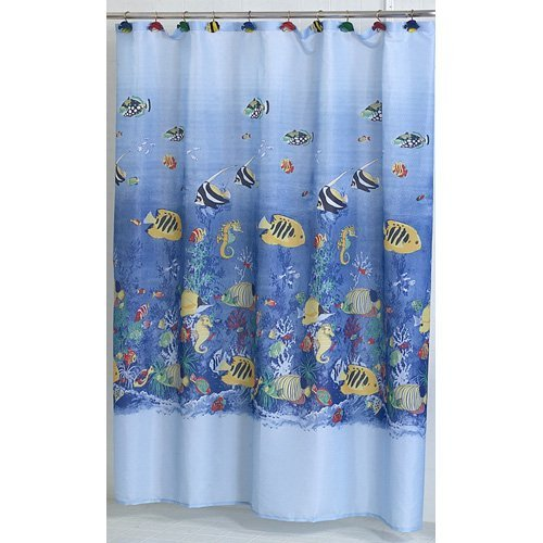 Carnation Home Fashions Tropical Sea Fish Fabric Shower Curtain