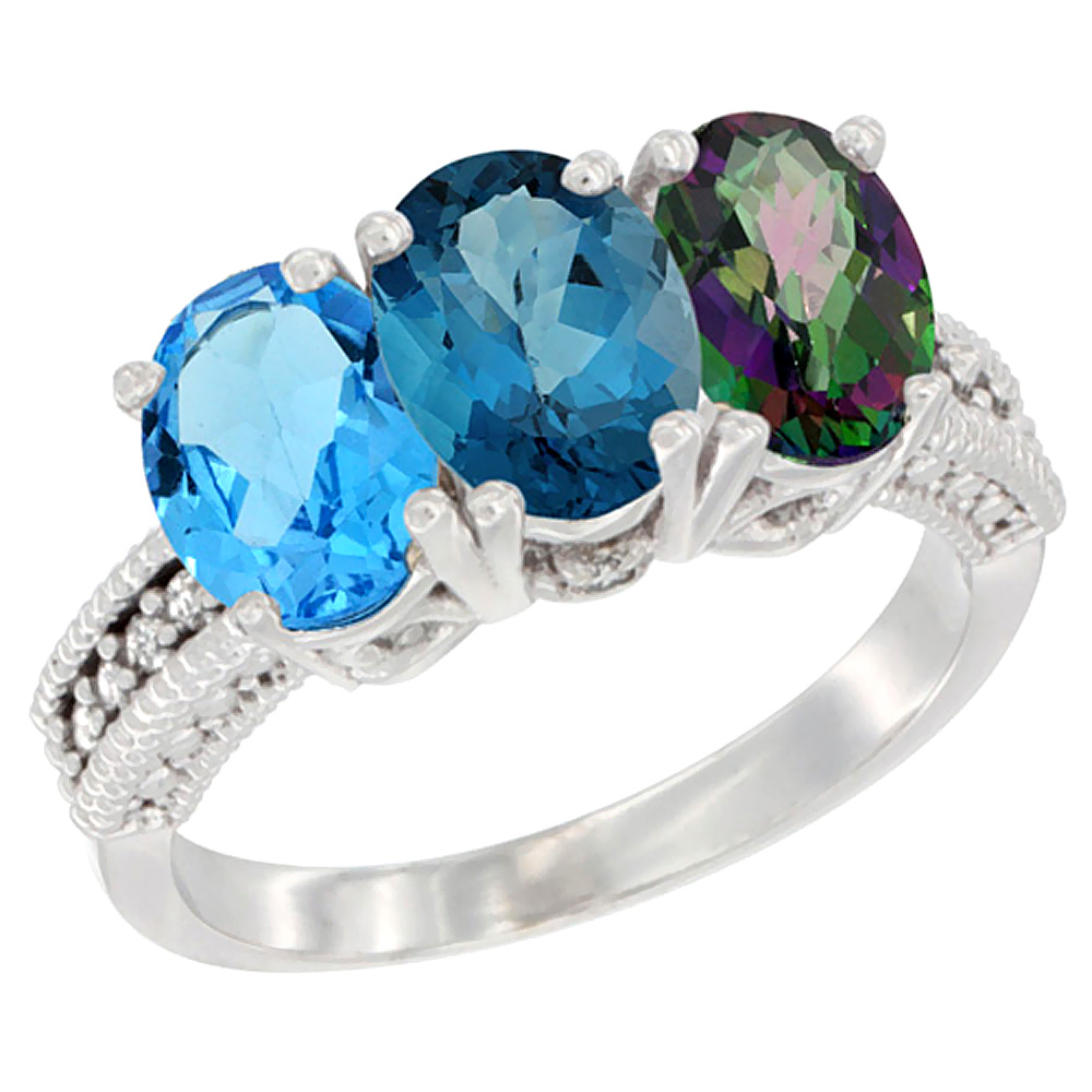 10K White Gold Natural Swiss Blue Topaz, London Blue Topaz & Mystic Topaz Ring 3-Stone Oval 7x5 mm Diamond Accent, sizes... by WorldJewels