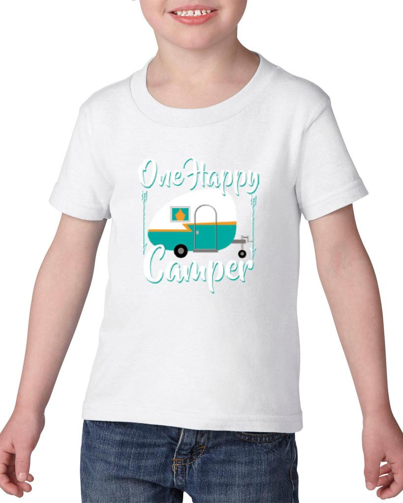 Artix One Happy Camper Gift 4 Camping Hiking Outdoors BFF Birthday Christmas Heavy Cotton Toddler Kids T-Shirt Tee Clothing