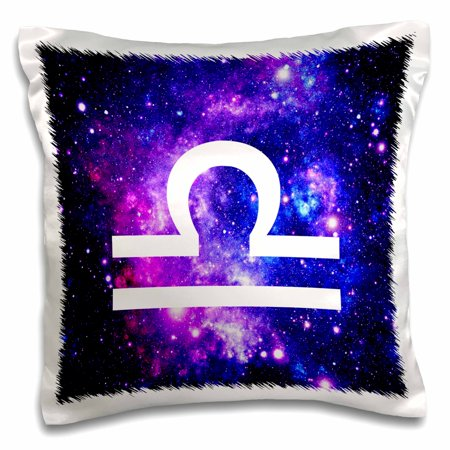 - 3dRose Libra star sign on purple space background - zodiac horoscope symbol, Pillow Case, 16 by 16-inch