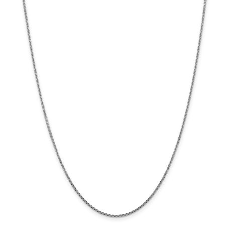 14k White Gold 1.45mm Solid Link Cable Chain Necklace 18 Inch Pendant Charm Round Fine Jewelry For Women Valentines Day Gifts For Her - image 9 of 9