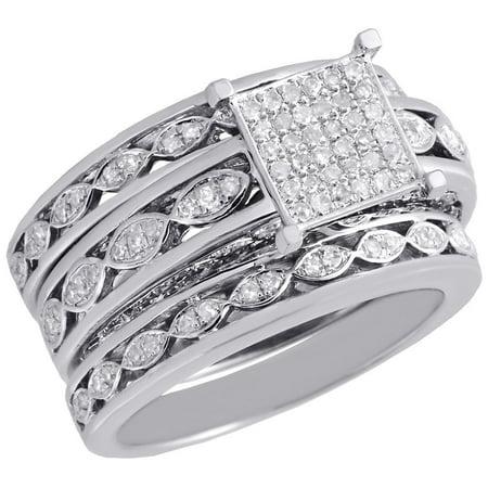 - Antique Filigree 3 Piece Diamond Wedding Set Ladies Ring Sterling Silver  3/4 Ct